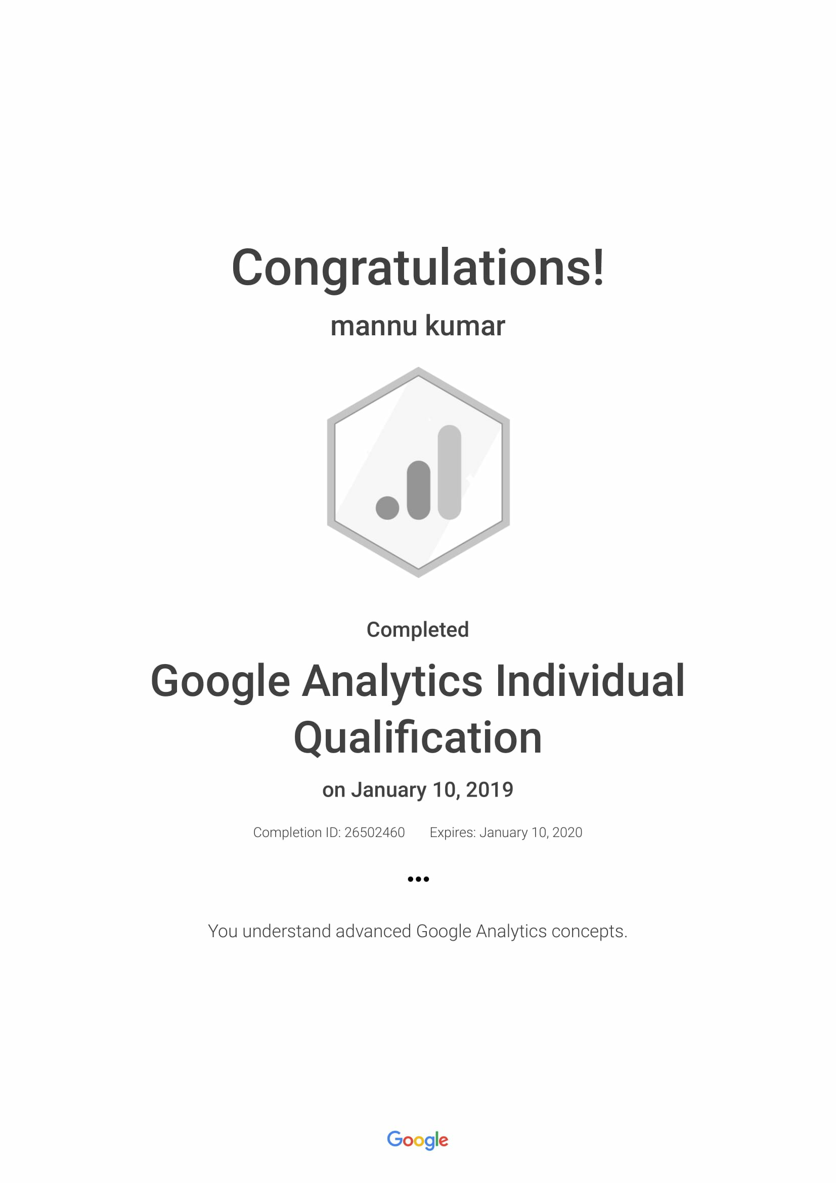Google Analytics Individual Qualification Certification