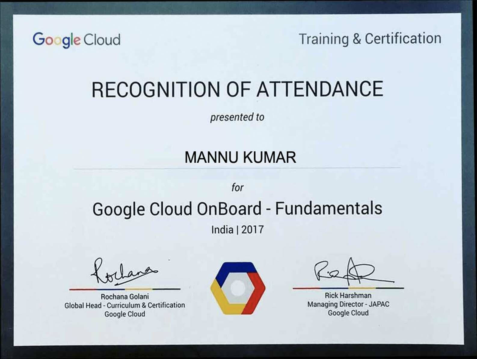 Google Cloud OnBoard-Fundamentals Certification