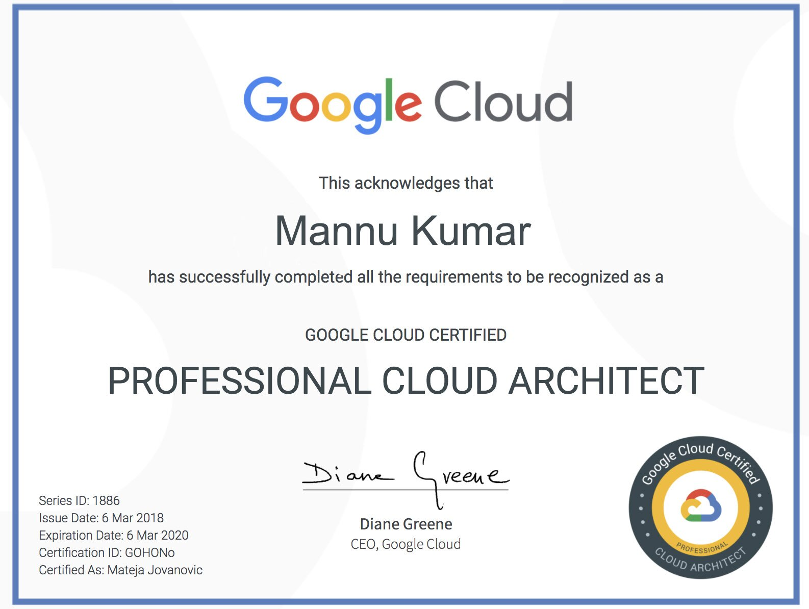 Professional Cloud Architect Certification